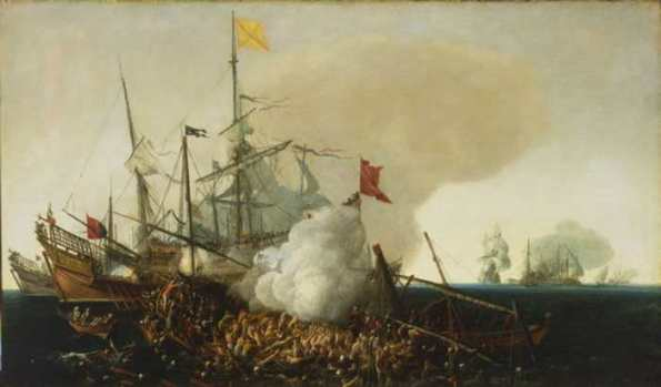 cornelis_vroom_spanish_men_of_war_engaging_barbary_corsairs